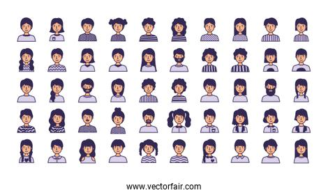 group of people avatars characters fill style