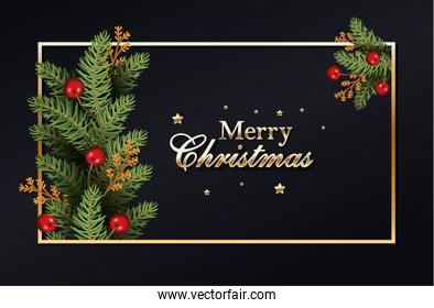 merry christmas calligraphy golden and wreath leafs with berries