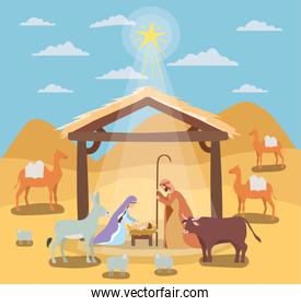 cute holy family in stable with animals manger characters