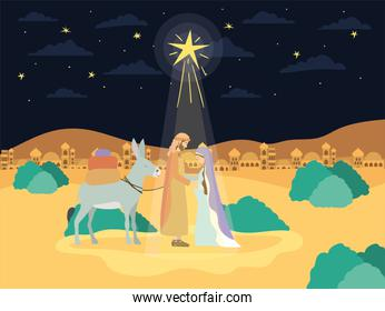 saint joseph and mary virgin in mule manger characters