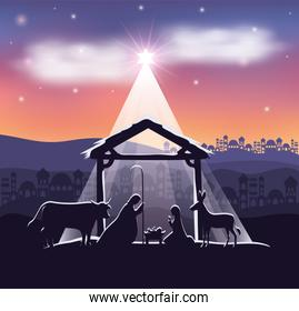 cute holy family and animals in stable manger characters