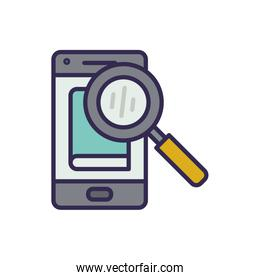electronic book in smartphone with magnifying glass