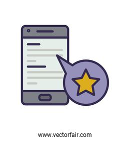electronic book in smartphone with star
