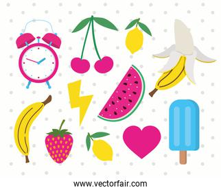 pack of fruits and icons pop art style