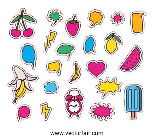 set of fruits and icons pop art style