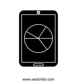 pie graph chart on cellphone screen icon image