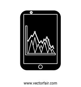 graph chart on cellphone screen icon image