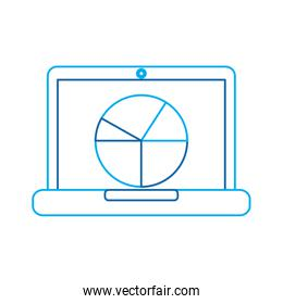 pie graph chart on laptop screen icon image