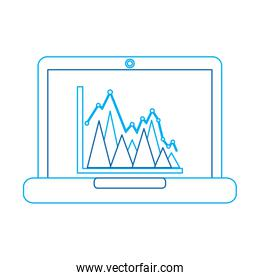 graph chart on laptop screen icon image
