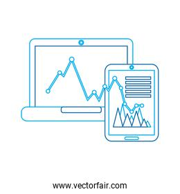 graph chart on laptop and cellphone screen icon image