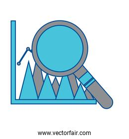 graph chart with magnifying glass icon image