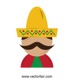 funny mexican man with hat and mustache cartoon