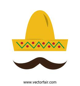 mexican hat and mustache carnival costume