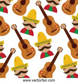 mexican man and guitar tradition seamless pattern image