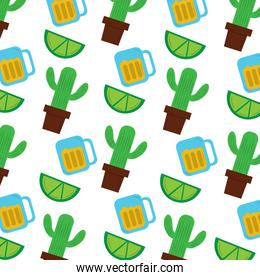mexican pot cactus drink and lime seamless pattern image