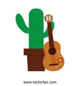 cartoon happy potted cactus with guitar celebration mexican