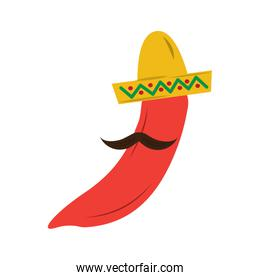 hot mexican chili pepper with hat and mustache