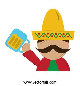 funny mexican man with hat and mustache with beer glass