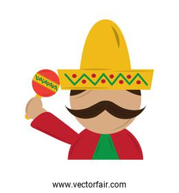 mexican man with maraca and hat traditional costume
