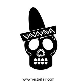 skull in hat day of the dead mexican celebration
