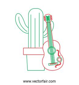 cartoon potted cactus with guitar celebration mexican
