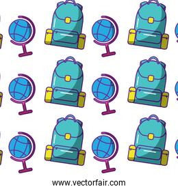 school backpack and globe map world   pattern