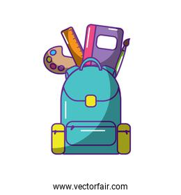 schoolbag with school supplies education and zippers
