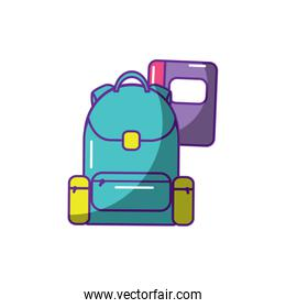 schoolbag with notebook supplies education and zippers