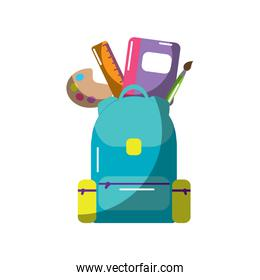 schoolbag with school supplies education with zippers