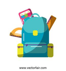 schoolbag with ruler color protractor supplies education and zippers