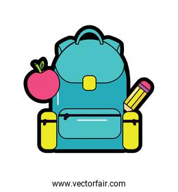 backpack with school supplies icon image