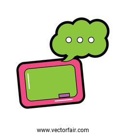 chalkboard and speech bubble school supplies icon image