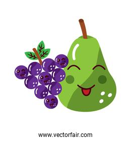 happy pear and grapes fruit kawaii icon image