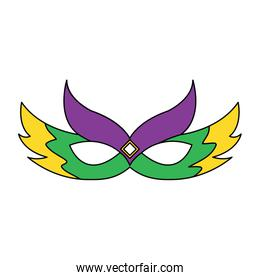 ornate mardi gras carnival mask with feathers