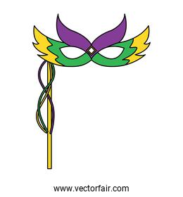 mardi gras carnival face mask with feathers and handle decoration
