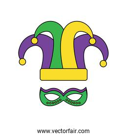mardi gras hat jester and mask carnival