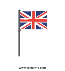great britain flag on a silver metallic pole
