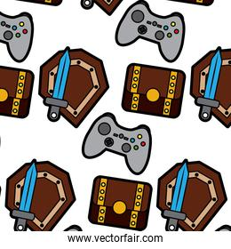 video game treasure chest shield sword control elements seamless pattern