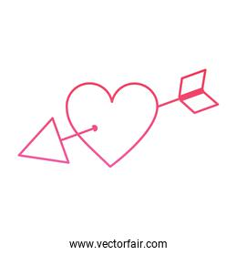 isoalted arrow through heart cupid valentines day icon image