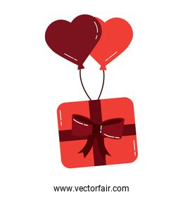 wrapped gift box flying with balloons heart romantic