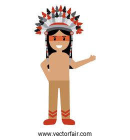 cartoon native indian american with traditional costume headwear
