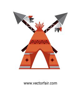 native american indian teepee home with crossed spears