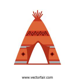 native american indian tipi home with tribal ornament front view