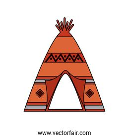 native american indian teepee home with tribal ornament front view