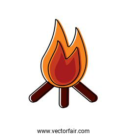 bonfire flame hot wooden warm icon