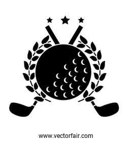 ball and clubs with laurel wreath stars golf emblem image