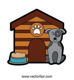 dog with house and food bowl pet icon image