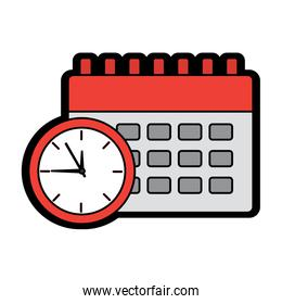 clock with calendar time icon image