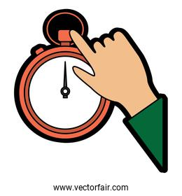 stopwatch or chronometer with hand time icon image