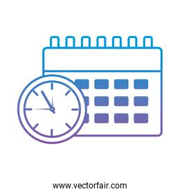clock with calendar time blue lines  image